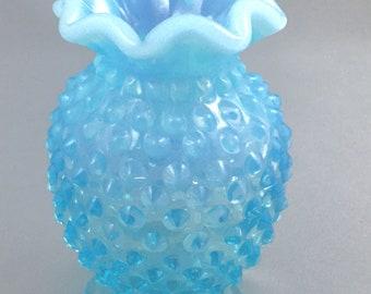 Fenton Blue Opalescent Hobnail Glass Small Ruffled Vase