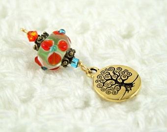 Blessingway bead - Summer Garden Sunlit Tree of Life - Mother Blessing bead, mama goddess