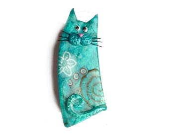 Cat pin, blue cat BROOCH Aqua blue named SYLVIO, lagoon blue cat with whiskers, gift for cat lovers, animal brooch, polymer clay cat jewelry