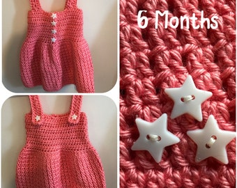 Size 6 Months Coral Dress with Star Embellishments
