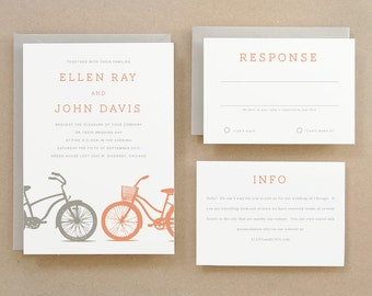 Printable Wedding Invitation Template | INSTANT DOWNLOAD | Bicycles | Word or Pages | easy DIY | Editable Artwork Colors