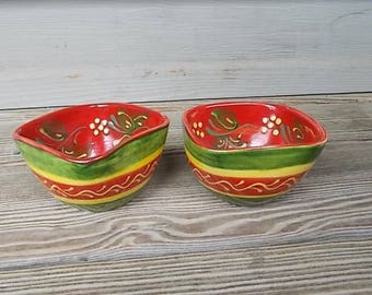 Vintage~Ceramic Bowels~Made in Spain~HECHO A MANO~Set of Two~Estate Pieces~Smaller Bowels~Display~Salsa~Home Decore Gift~Collectable~80's