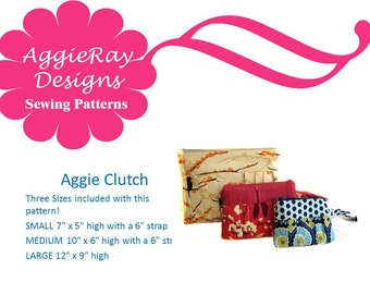 INSTANT DOWNLOAD  pdf Sewing Pattern Aggie Clutch Wristlet 3 Sizes  Create and Sell Product