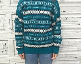 Vintage 80s 90s Royal North Mills Striped Teal Blue White Black Diamond Pattern Sweater - Medium