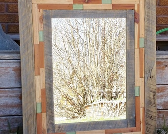 Reclaimed Wood and Tile Mirror