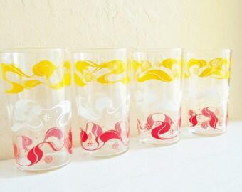Set of 4 Retro Vintage Mid-Century Drinking Glasses Tumblers