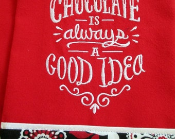 Chocolate Embroidered Tea Towel  Kitchen Floursack Fingertip Dishtowel