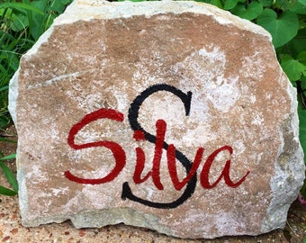 Personalized hand painted rock last name unique gift garden stone porch decor custom