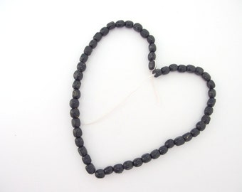 50 Reclaimed Small Oval Black Wood Beads