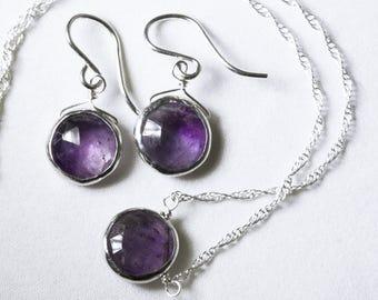 Genuine Amethyst 2-piece SET Real Amethyst Adjustable Necklace Amethyst Earrings Amethyst Jewelry February Birthstone BZ-SET-105.2-Am/s