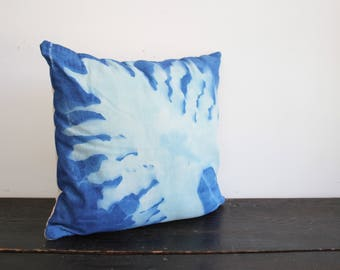 One of a Kind Modern Blue and Cream Hand Dyed Botanical Sunprint Canvas and Wool Throw Pillow