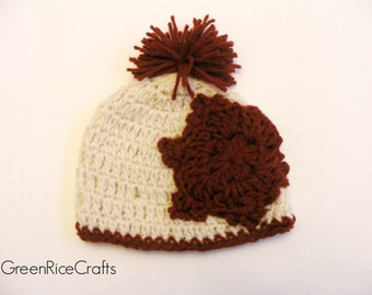 SAMPLE SALE Ready to Ship  6-12m Cream and Crimson Crocheted Snowflake Pom Pom Beanie
