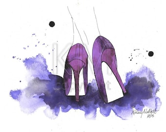 High Heels, Fashion Illustration Watercolor Painting Print  -- Home/office decor and wall art, Fashion prints, Black shoes