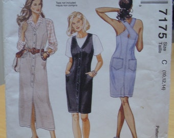 McCall's 7175 dress with pockets sewing pattern 10 12 14 UNCUT