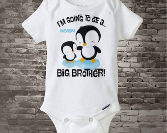 Penguin I'm Going to Be A Big Brother Onesie or shirt, Big Brother, Personalized Big Brother Shirt, Penguin Shirt Or bodysuit 07202012c