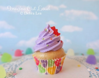 Fake Cupcake Faux Valentine's Day Purple Candy Bear Rainbow Sprinkles