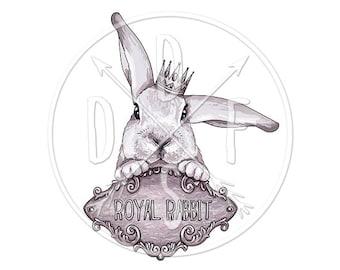 A0020 - Purple Rabbit, Vintage, Rustic, Royal, Crown - Digital Print for Instant Download. Printable Illustration. PNG, JPG files 8x10''.