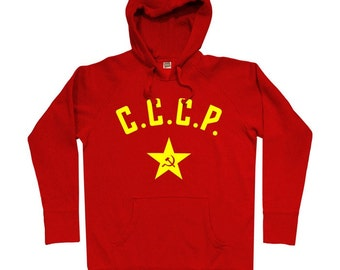 CCCP Soviet Hoodie - Men S M L XL 2x 3x - USSR Russia Hoody Sweatshirt - 3 Colors