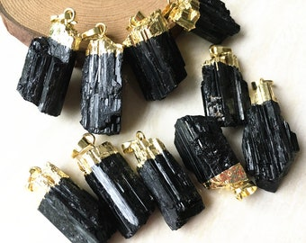 SALE Natural Black Tourmaline Charm Pendant - Raw Black Tourmaline Rod with Gold Electroplated Cap - Silver Plated Black Tourmaline Pendant