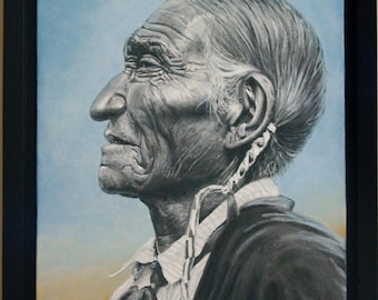 Enhanced Giclee Print, Framed Canvas, CHEYENNE LEADER, 14x11