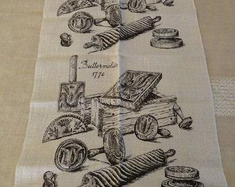 NOS New Vintage Linen Tea Towel kitchen Dish Towel Buttermolds 1770