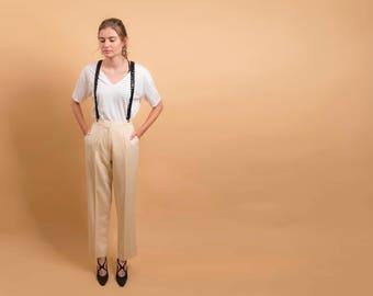 Tailored Wool Pants / 80s High-Waist Pants / Minimalist Trousers / Yellow Pants Δ size: M