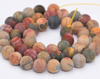 "10MM Matte Picasso Jasper Natural Gemstone Full Strand Round Loose Beads 16"" (101087-315)"