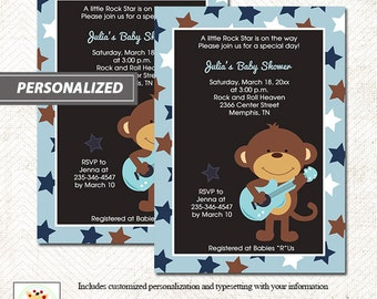 Rock Star Monkey Boy Baby Shower Invitation Black with Blue Star Border, Printed or Printable File bs-131