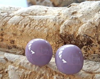 Lavender Stud Earrings, Sterling Silver Posts, Round Stud Earrings, Big Stud Earrings, Wisteria, Purple Earrings, Minimalist, Made USA