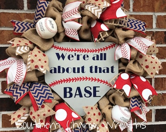"""Softball Baseball """"We're all about that base"""" Wreath"""