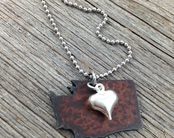 Washington Necklace SMALL, Charm Necklace, Seattle Gift, Rustic Jewelry