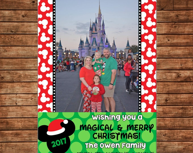 Christmas Holiday Photo Card Mickey Magical and Merry - Can Personalize - Printable File or Printed Cards