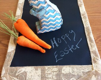 Easter Bunny Burlap Table Runner // Chalk Cloth Table Runner