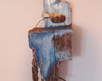 Painted driftwood wall hanging