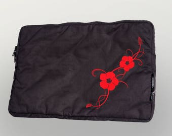 "Laptop bag 13 """" Hibiscus ""organic cotton Fairtrade"