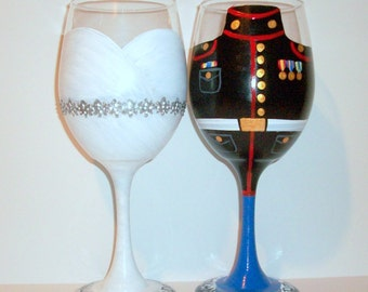 Hand Painted Wine Glasses Bride and Groom Wedding Dress and Marine, Army, Navy, Airforce Uniform Set of 2 / 20 oz. White Wine Glasses