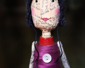 Paper Doll Figure Handmade Paper Mache Found Object Doll - Edwina