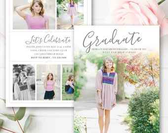 Senior Graduation Announcement Template, Senior Card Template, Photoshop Template for Photographers, Senior Photographer Marketing