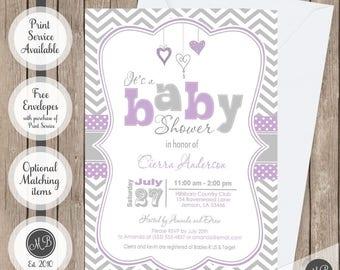 Lavender Purple and Grey baby shower invitation, chevron invitation, girl baby shower invitation, hearts, typography, invitation ph1