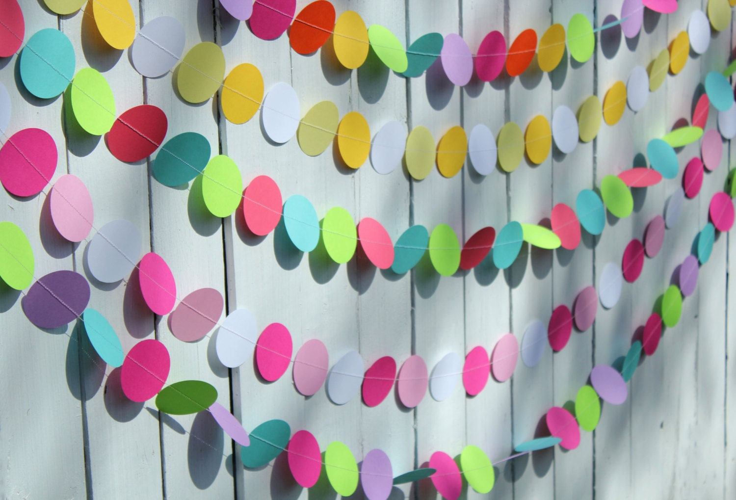 Birthday party decorations paper garland party decoration for Chart paper decoration ideas