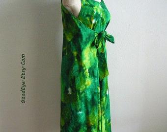 Unique  1960s TIKI TOGS Wrap Dress /  size 6 8 10 / Green Hawaiian Sun Dress RESORT Beach Summer / Sleeveless Jumper Shift