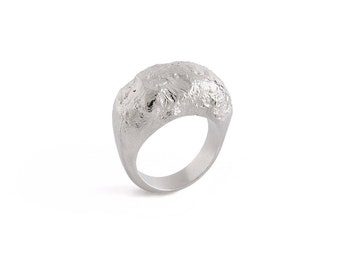 Silver Statement Ring, Modern 925 Sterling Ring, Minimalist Geometric Design, Everyday Silver Jewelry, Unique Textured Ring,