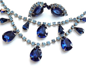 Blue Rhinestone Necklace and Earring Set Demi Parure Silver Tone Prong Set Vintage