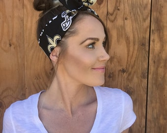 New Orleans Saints Dolly Bow Reversible Black White Tan Gold Pinup Rockabilly Dolly Bow Tie Up Headband Headscarf Hair Girl Head Wrap