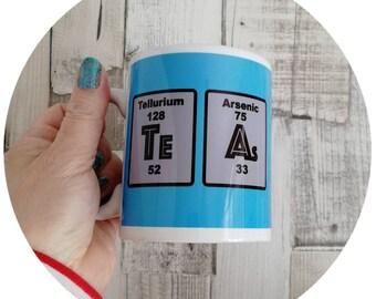 Chemistry tea mug, Periodic table mug, arsenic mug, love to death mug, gift for geeks, funny mug, gift for him.