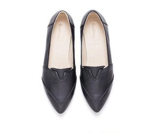 Sale 40% off! Women's shoes. Black shoes. Black flats, evening shoes, women black shoes, handmade leather shoes by Burlinca. Franz