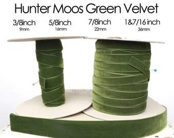 Hunter Moss (moos) Green Nylvalour Swiss Velvet Ribbon - 3/8inch, 5/8inch, 7/8inch, 1&7/16inch brunswick green,  moss green velvet, (549)