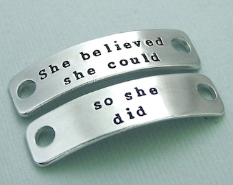 READY TO SHIP - Dog Agility Shoe Tags - Hand Stamped - Canine Agility - She believed she could so she did