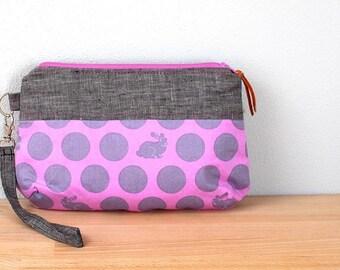 Wristlet Purse, Zipper Bag, Small Clutch in Gray Linen with Purple Bunnies