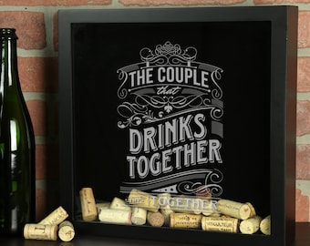 Personalized Beer Cap Shadow Box, The Couple That Drinks Together Stays Together, Wedding Gift, Wine Cork Shadow Box